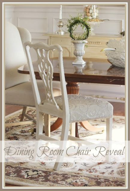 One Painted & Reupholstered Dining Room Chair