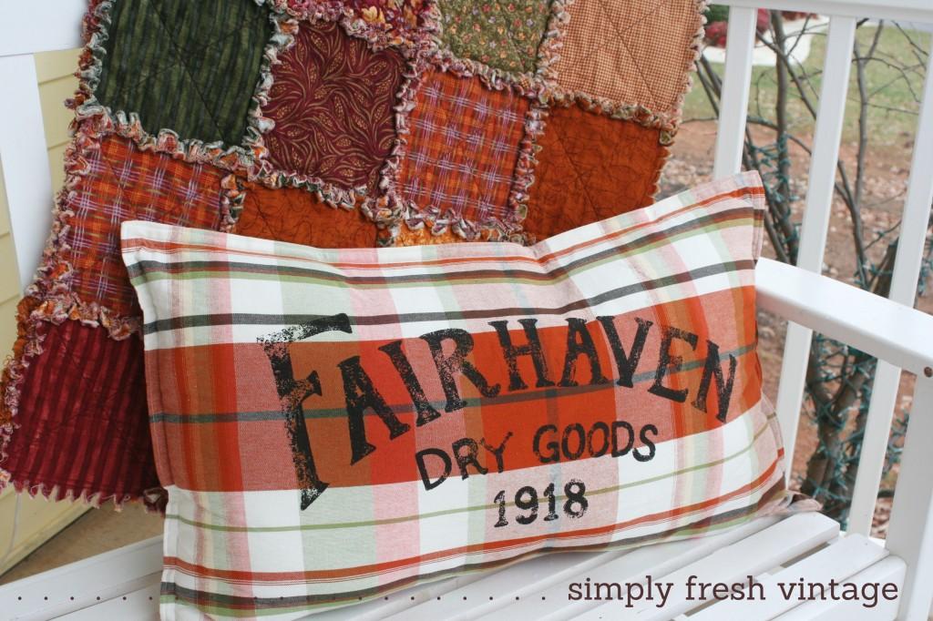 Fairhaven Pillow on Porch