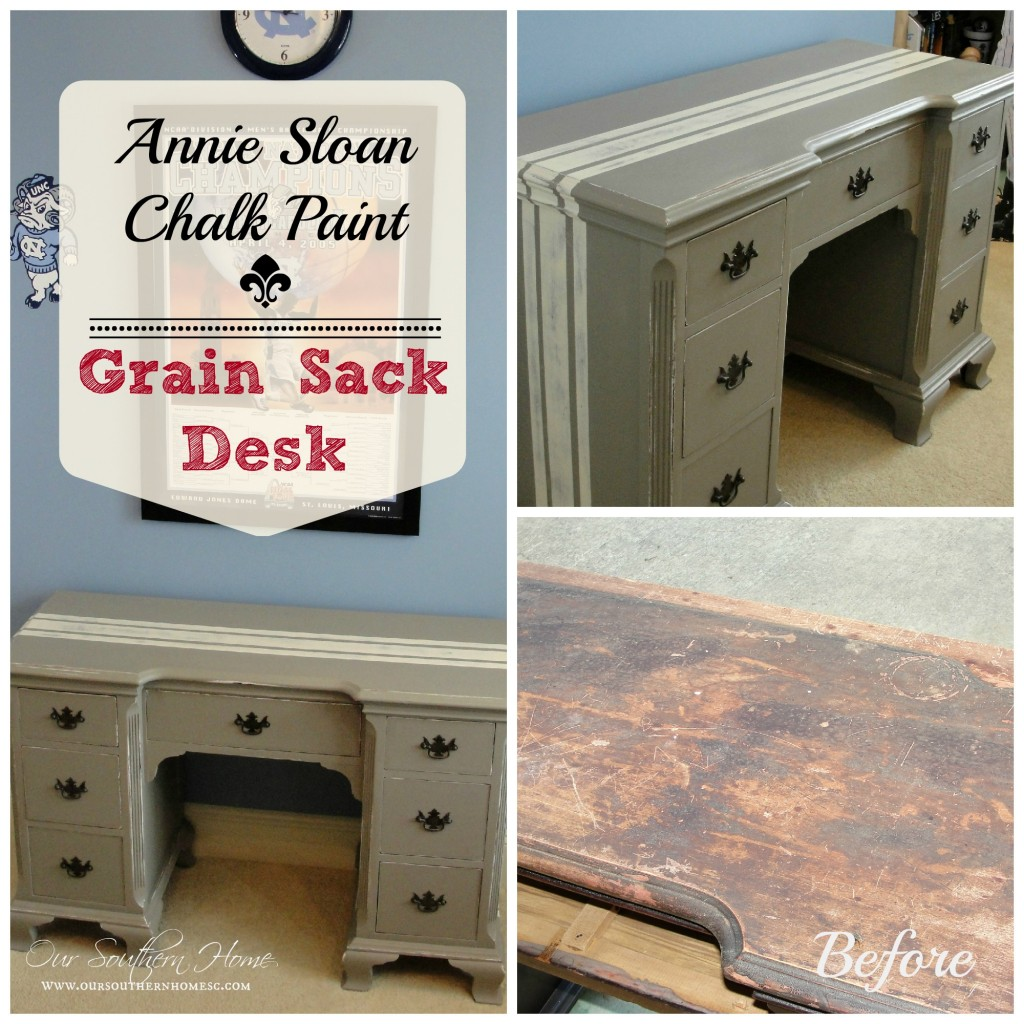 Grain Sack Desk @ Our Southern Home