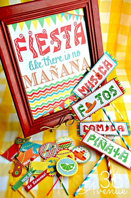 Fiesta Party Kit Printable ~The36thAvenue.com | SimplyFreshVIntage.com