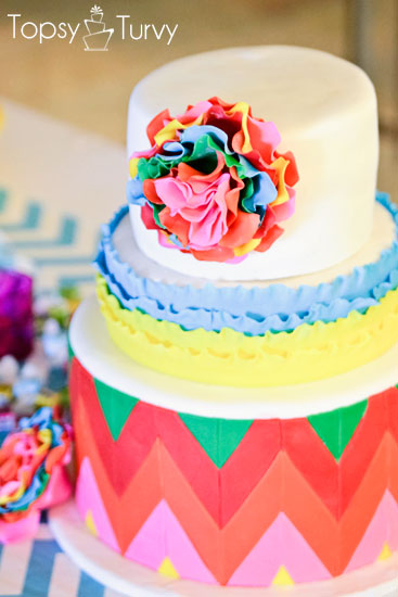 Fondant Ruffled Flower Cake from ImTopsyTurvy.com | part of the Cinco de Mayo Roundup at SimplyFreshVintage.com