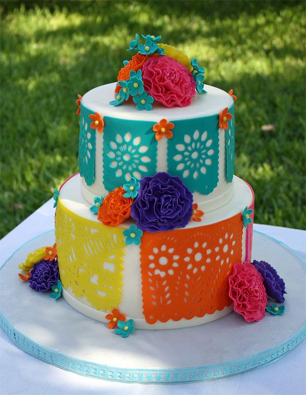 Fiesta Papel Picado Cake from CakeCentral.com | part of the Cinco de Mayo Roundup at SimplyFreshVintage.com