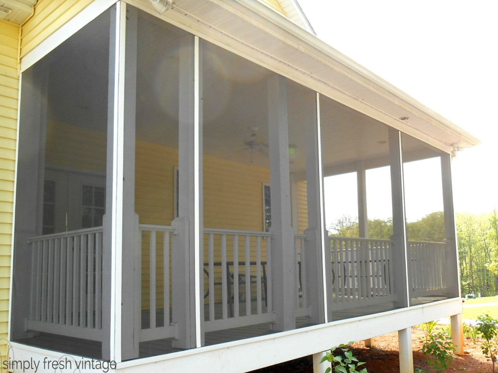 Porch Makeover - Screening the Porch | SimplyFreshVintage.com