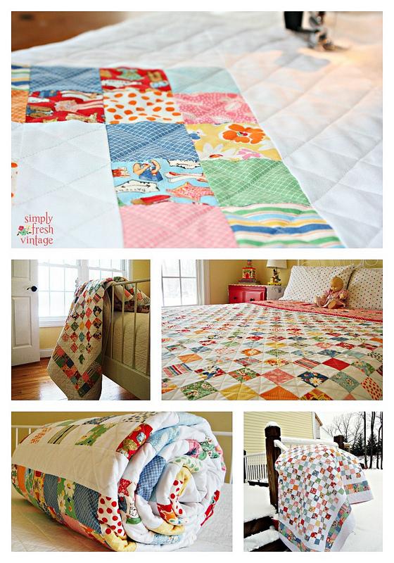 Postage Stamp Quilt| SimplyFreshVintage.com