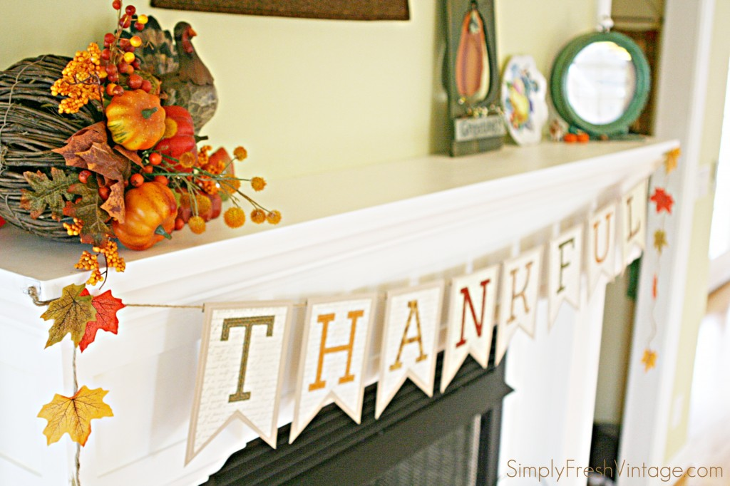 Thankful Banner / Bunting ... a tutorial from SimplyFreshVintage.com