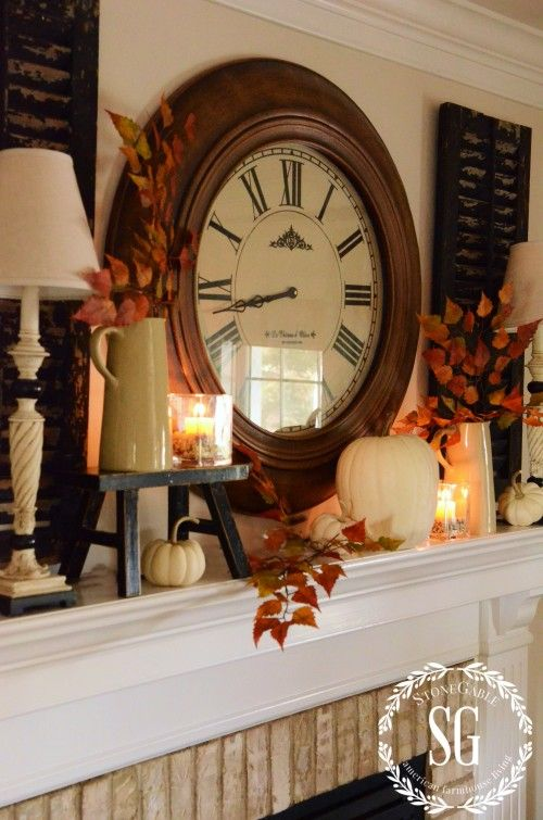 Fall Mantel from StoneGableBlog.com | SimplyFreshVintage.com