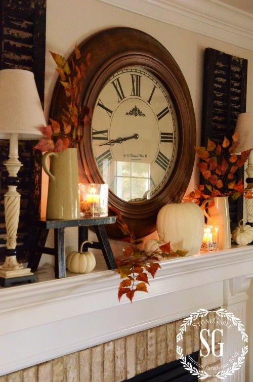 Fall Mantel from StoneGableBlog.com | SimplyFreshVintage.com