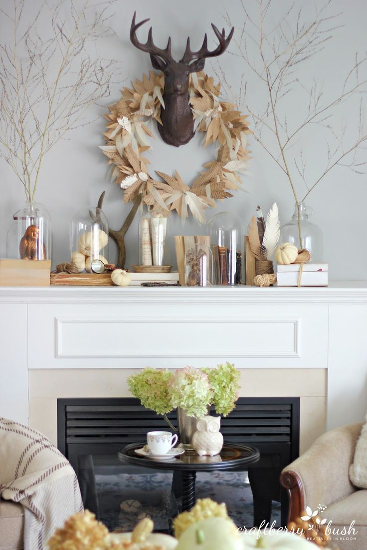 Fall Mantel from Craftberry Bush | SimplyFreshVintage.com