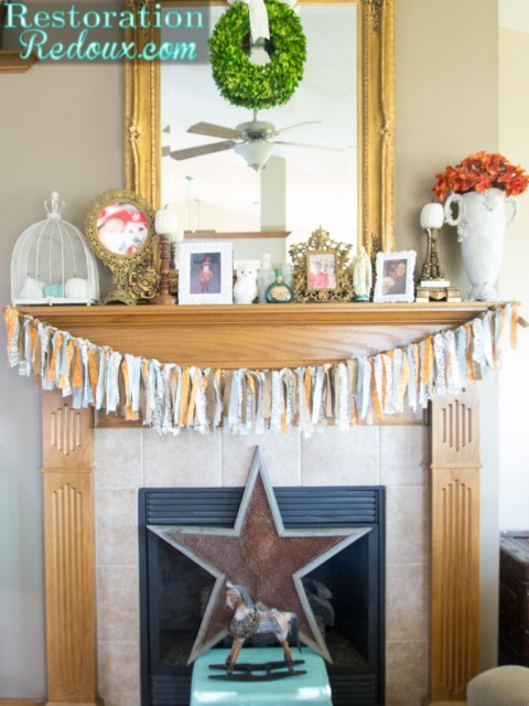 Fall Mantel from RestorationRedoux.com | SimplyFreshVintage.com