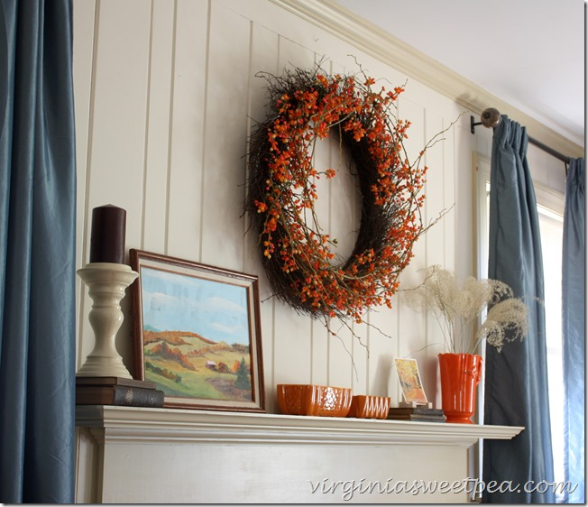 Fall Mantel from VirginiaSweetPea.com | SimplyFreshVintage.com