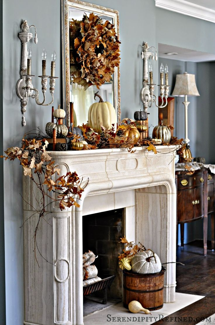 Fall Mantel from SerendipityRefined.com | SimplyFreshVintage.com