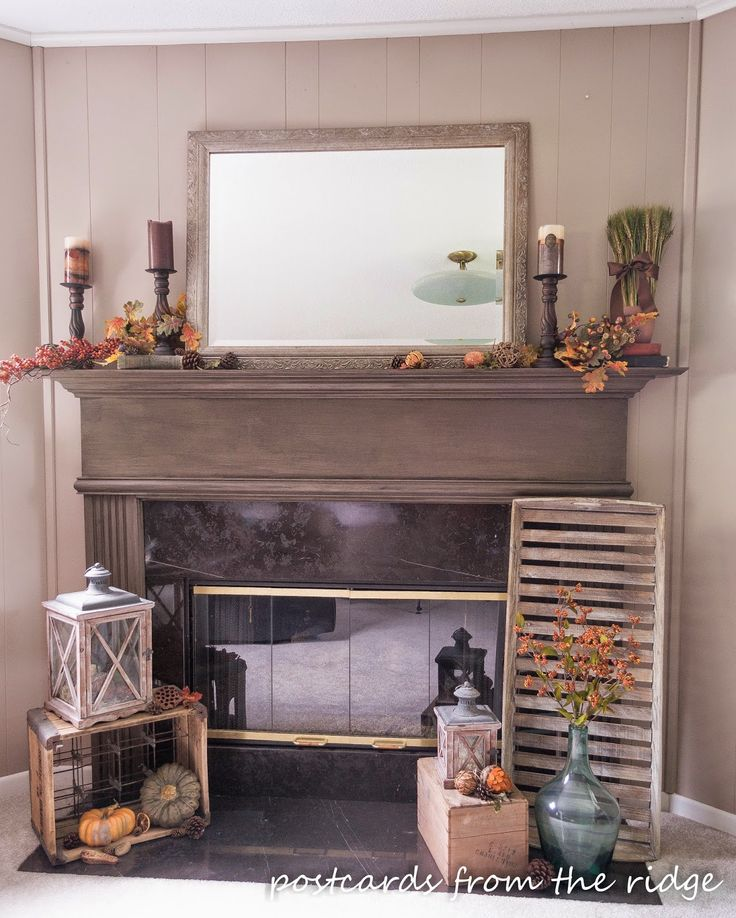 Fall Mantel from PostcardsFromTheRidge.com | SimplyFreshVintage.com
