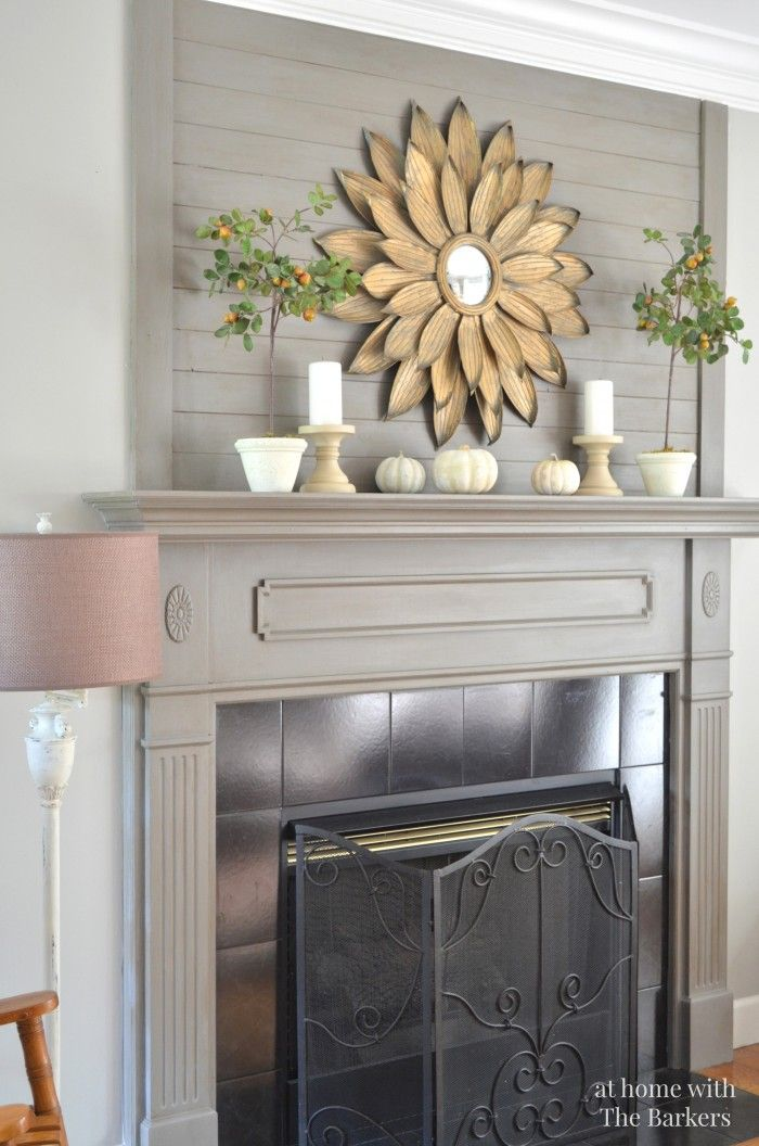 Fall Mantel from At Home With the Barkers | SimplyFreshVintage.com