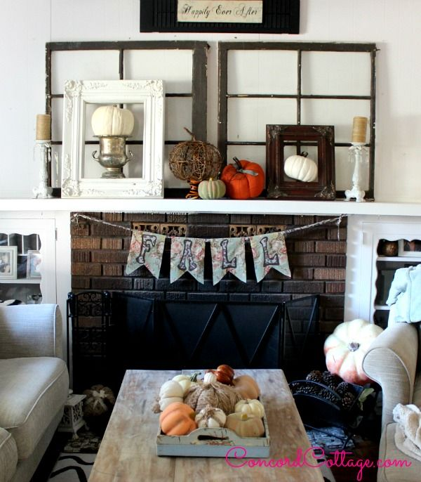 Fall Mantel from ConcordCottage.com | SimplyFreshVintage.com