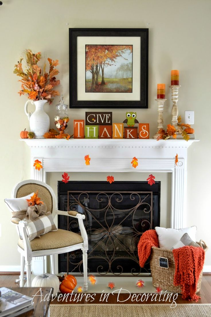 Fall Mantel from Adventures In Decorating | SimplyFreshVintage.com