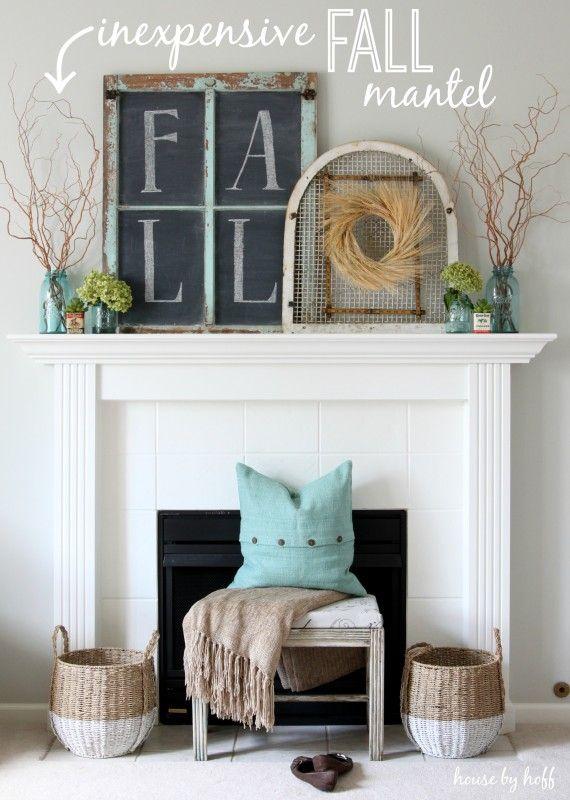Fall Mantel from House by Hoff | SimplyFreshVintage.com