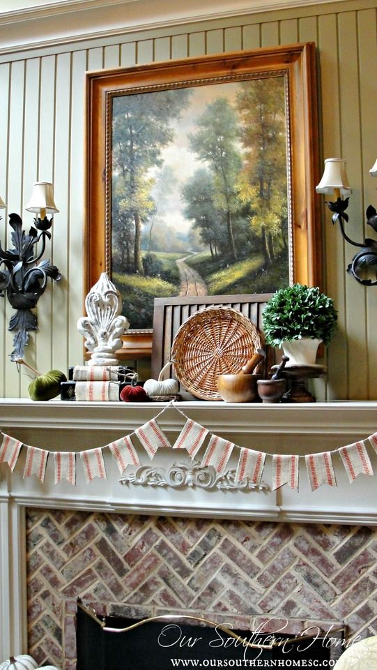 Fall Mantel from OurSouthernHomeSC.com | SimplyFreshVintage.com