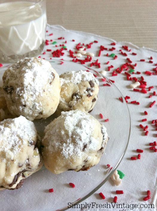 Mint Chocolate Chip Snowball Cookies | SimplyFreshVintage.com