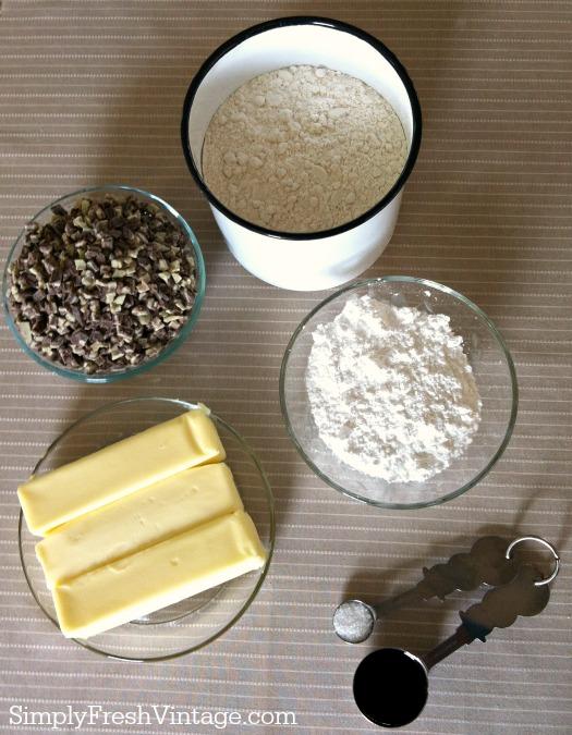 Mint Chocolate Chip Snowball Cookies - Ingredients | SimplyFreshVintage.com