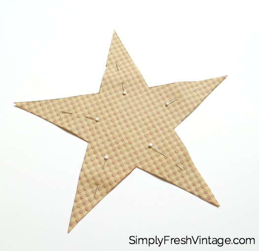 Vintage Star Ornaments | Make these easy Vintage Star Ornaments for decorating or gift giving. Pick your own fabrics and ribbon, and add some flowers or charms to make your own unique ornament. | SimplyFreshVintage.com