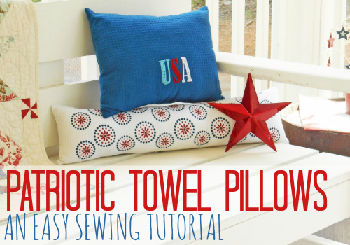Patriotic Dish Towel Pillows