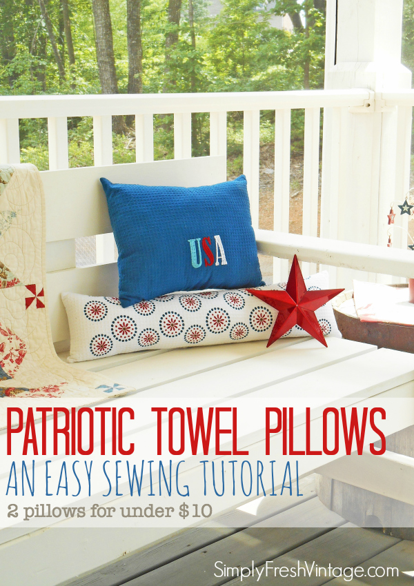 Decorating your home for the holidays doesn't have to be expensive.  This tutorial for making dish towel pillows will bring festive color to your home in under an hour. - SimplyFreshVintage.com