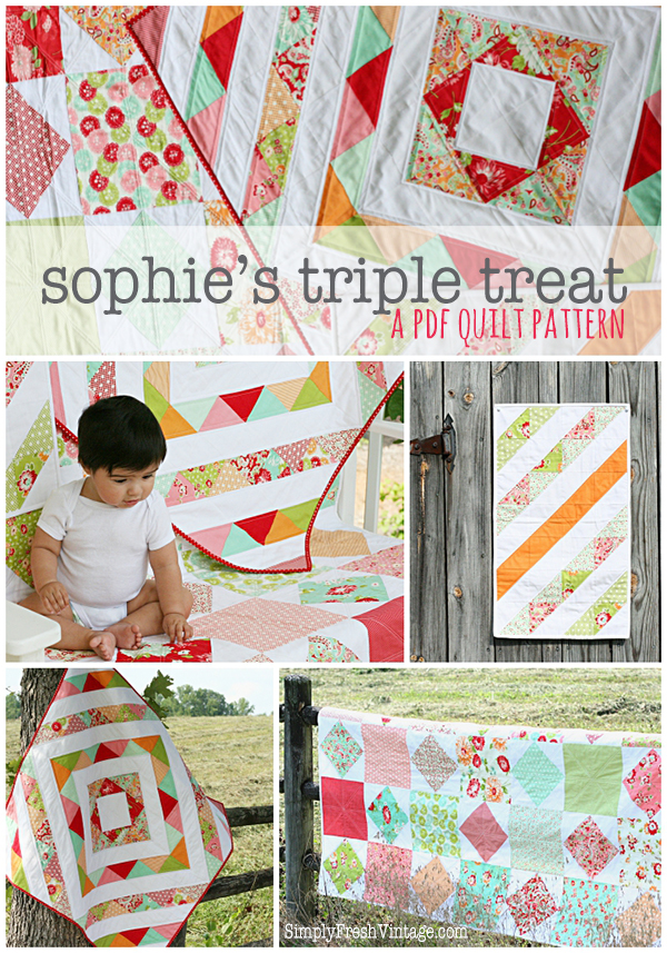 Sophie's Triple Treat ... a quilt pattern featuring 2 lap quilts and a mini quilt made with 1 layer cake and 2 yards of background fabric. | SimplyFreshVintage.com